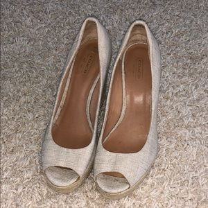 Coach linen nude wedges.